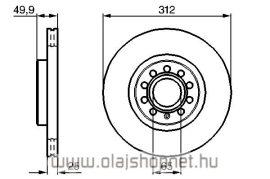 Vw Passat Első Féktárcsa 2005- LPR 16 colos kerék 312 mm (1,6fsi, 1,9tdi, 2,0fsi, 2,0tdi)